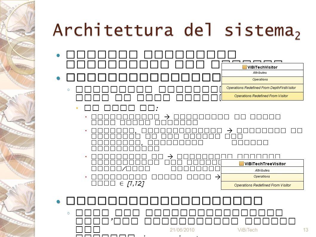 Architettura del sistema 2 Analisi semantica realizzata dai Visitor ViBiTechVisitor ViBiTechVisitor Controllo coerenza con la base di dati esistente :