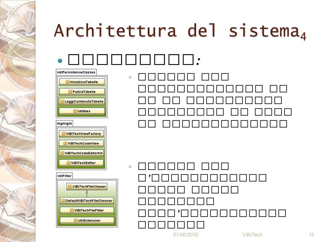 Architettura del sistema 4 Utilities : Classi per inizializzare il DB ed effettuare controlli in fase di progettazione Classi per l highlighting delle