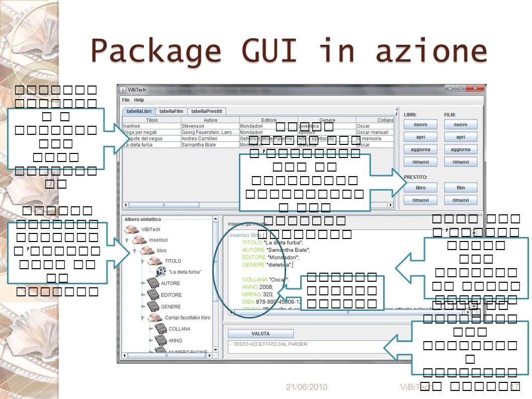 Package GUI in azione 21/06/2010 ViBiTech 17 Visuali zzazion e a tabelle dei dati esisten ti Albero rappres entante l esecuz ione di un comando Area p
