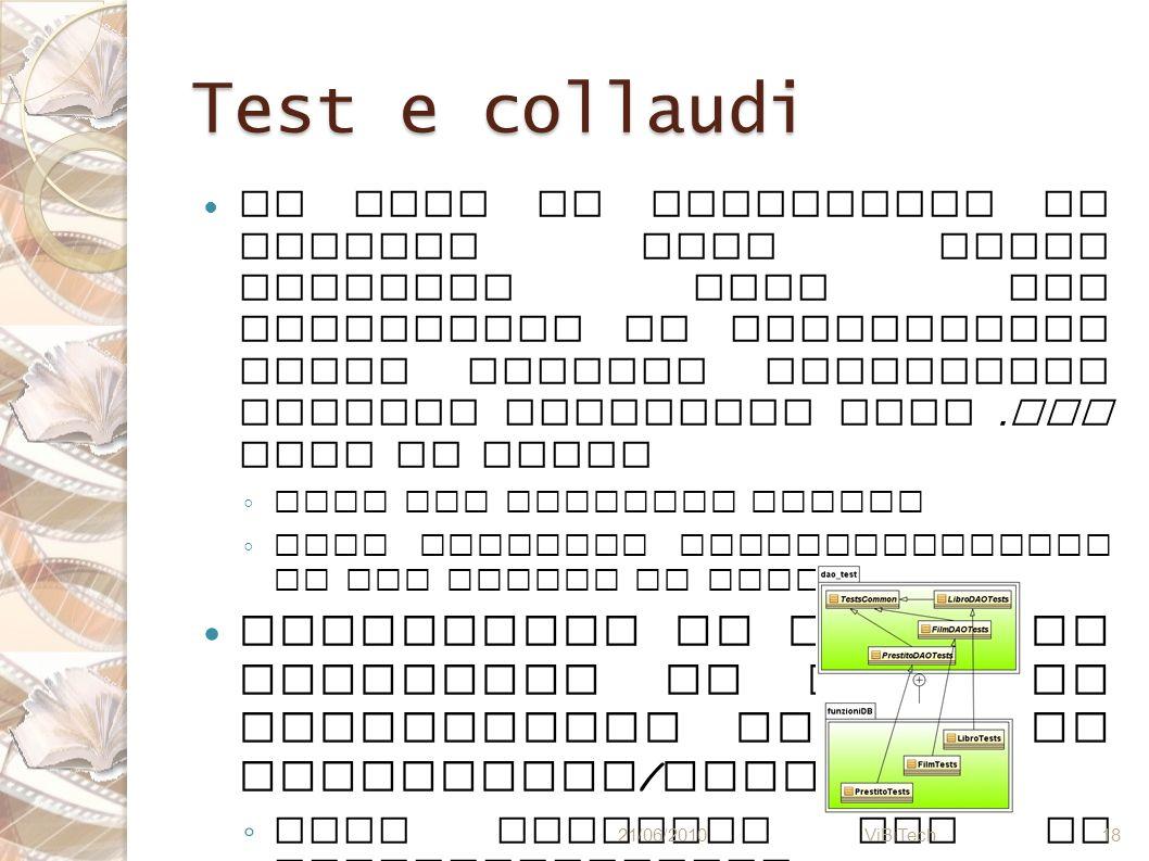 Test e collaudi Al fine di collaudare il sistema sono stati eseguiti test per verificare la correttezza delle analisi semantiche tramite opportuni fil