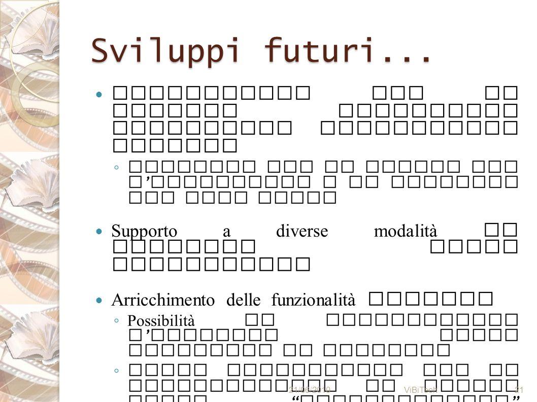 Sviluppi futuri... Interazione con il sistema unicamente attraverso interfaccia grafica Finestre che si aprono per l immissione e la modifica dei vari
