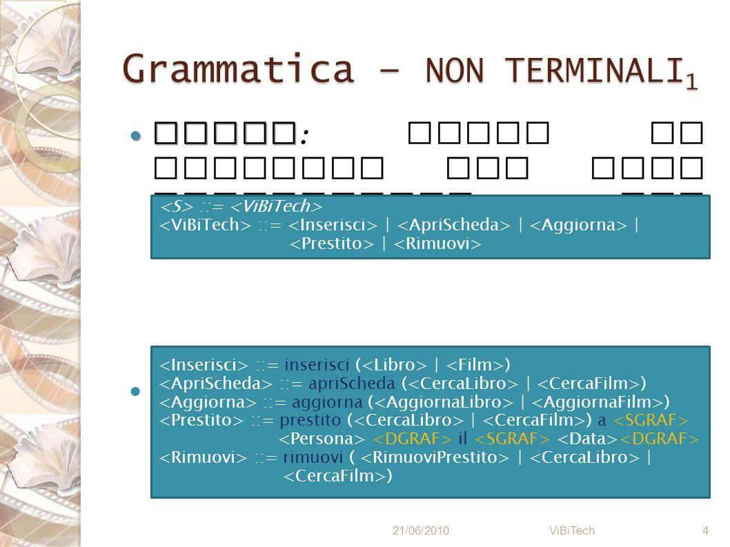 Grammatica – NON TERMINALI 2 Inserimento di una nuova scheda 21/06/2010 ViBiTech 5 ::= inserisci ( | ) ::= libro TITOLO AUTORE EDITORE GENERE ::= film TITOLO REGISTA DURATA ( \ | min ) (.