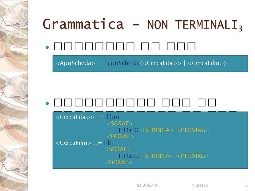 Grammatica – NON TERMINALI 4 Aggiornamento dei campi facoltativi 21/06/2010 ViBiTech 7 ::= aggiorna ( | ) ::= ( ATTORI ( ).