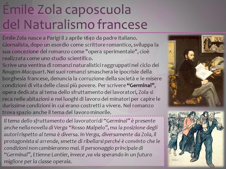 Émile Zola nasce a Parigi il 2 aprile 1840 da padre italiano. Giornalista, dopo un esordio come scrittore romantico, sviluppa la sua concezione del ro