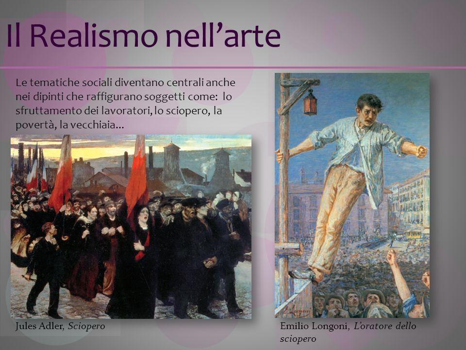 Il Realismo nellarte Le tematiche sociali diventano centrali anche nei dipinti che raffigurano soggetti come: lo sfruttamento dei lavoratori, lo sciop