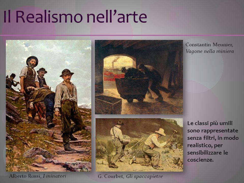 Il Realismo nellarte G. Courbet, Gli spaccapietre Le classi più umili sono rappresentate senza filtri, in modo realistico, per sensibilizzare le cosci