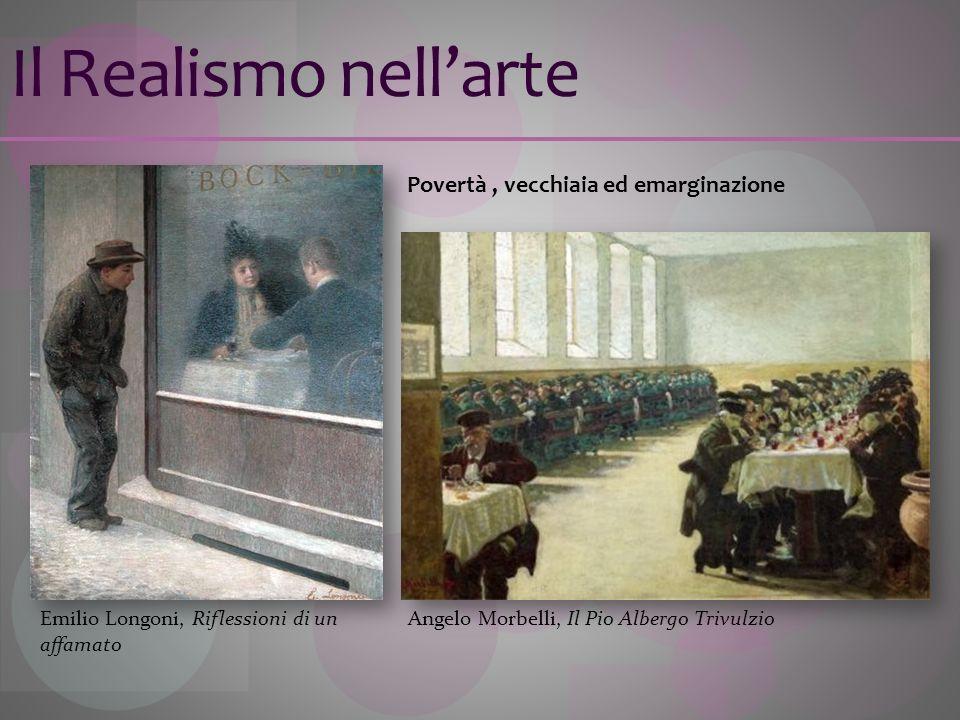 Il Realismo nellarte Povertà, vecchiaia ed emarginazione Angelo Morbelli, Il Pio Albergo TrivulzioEmilio Longoni, Riflessioni di un affamato