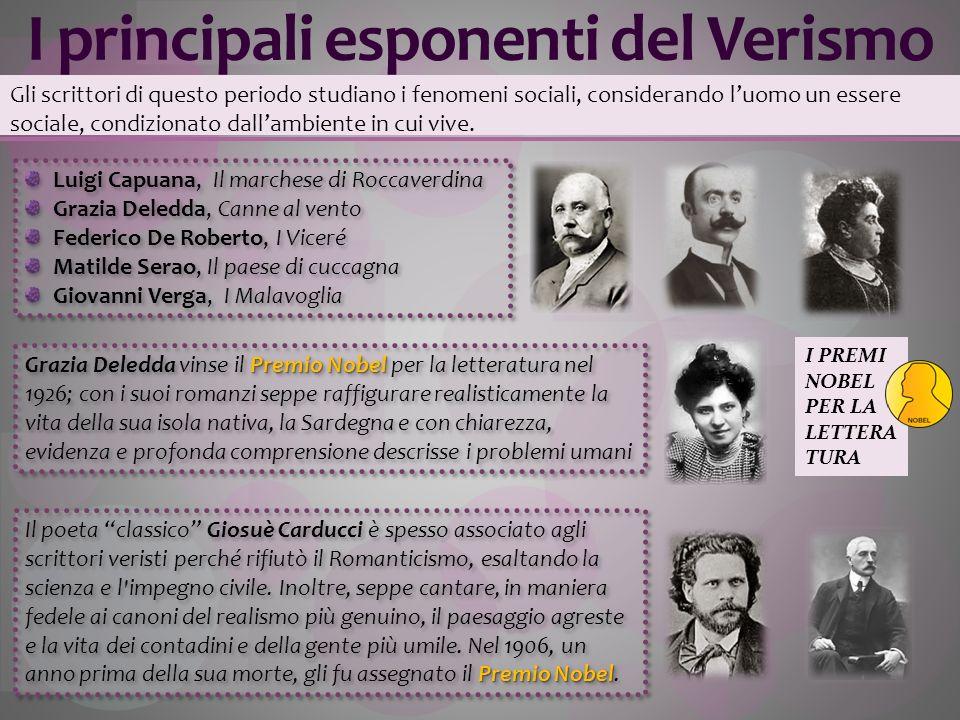I principali esponenti del Verismo Gli scrittori di questo periodo studiano i fenomeni sociali, considerando luomo un essere sociale, condizionato dal