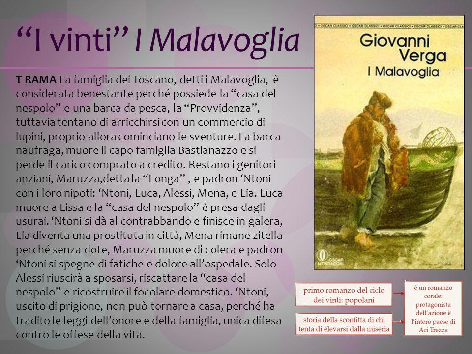 I vinti I Malavoglia T RAMA La famiglia dei Toscano, detti i Malavoglia, è considerata benestante perché possiede la casa del nespolo e una barca da p