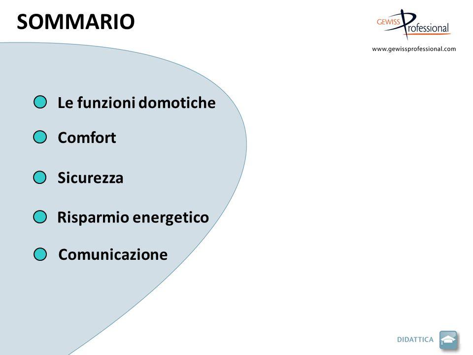 Le funzioni domotiche Sicurezza Comfort Risparmio energetico Comunicazione SOMMARIO