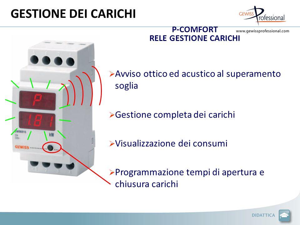 GESTIONE DEI CARICHI P-COMFORT RELE GESTIONE CARICHI Avviso ottico ed acustico al superamento soglia Gestione completa dei carichi Visualizzazione dei