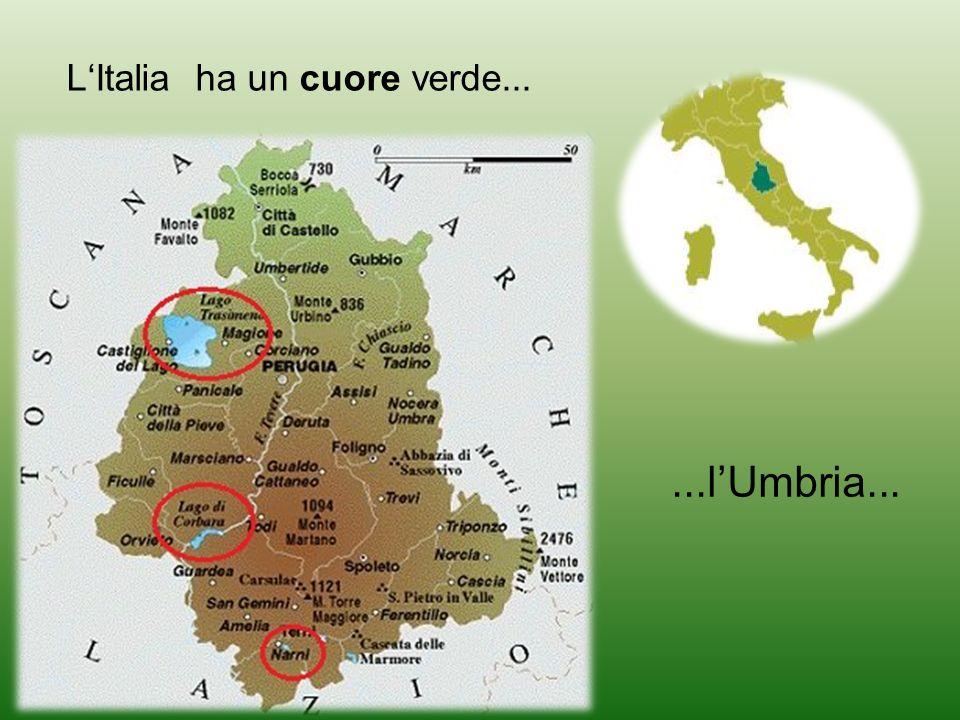 ...che ha tre laghi blu, Lo sbarramento del fiume Tevere, fra Todi ed Orvieto, ha dato luogo al lago di Corbara Il più grande è il lago Trasimeno Di minori dimensioni è il lago di Piediluco