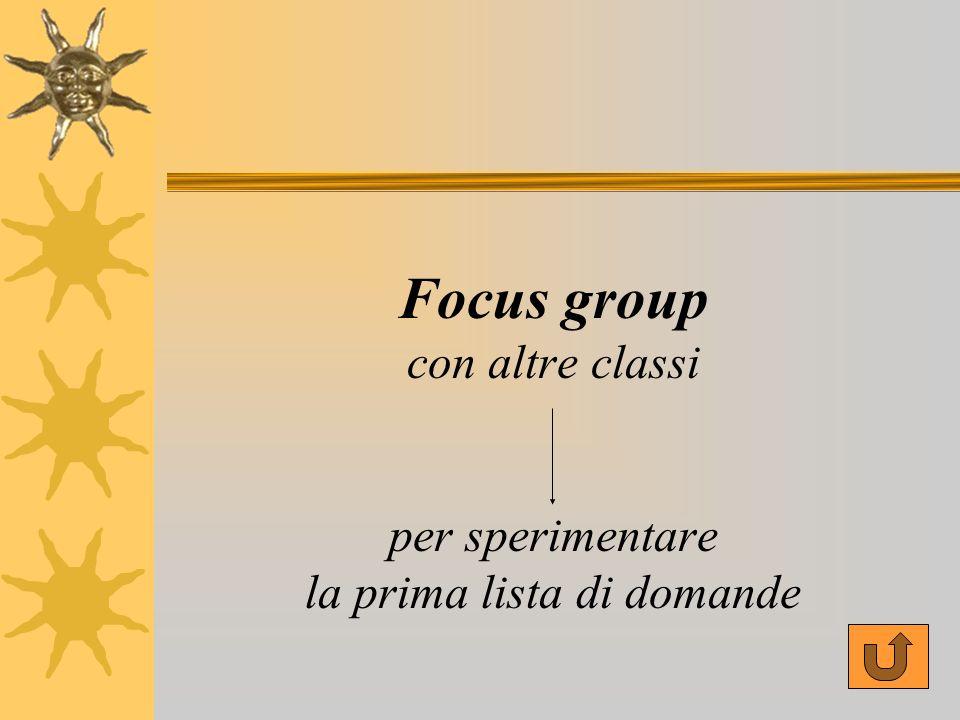 Focus group con altre classi per sperimentare la prima lista di domande
