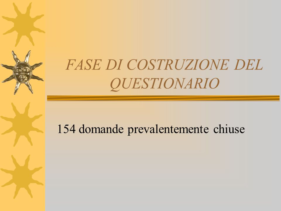 FASE DI COSTRUZIONE DEL QUESTIONARIO 154 domande prevalentemente chiuse