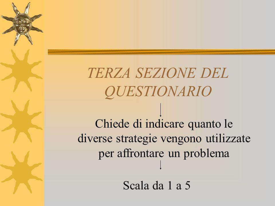 TERZA SEZIONE DEL QUESTIONARIO Chiede di indicare quanto le diverse strategie vengono utilizzate per affrontare un problema Scala da 1 a 5