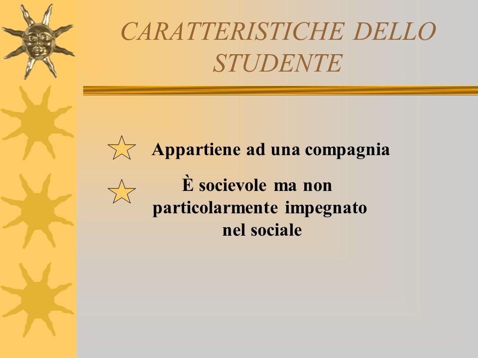 CARATTERISTICHE DELLO STUDENTE Appartiene ad una compagnia È socievole ma non particolarmente impegnato nel sociale