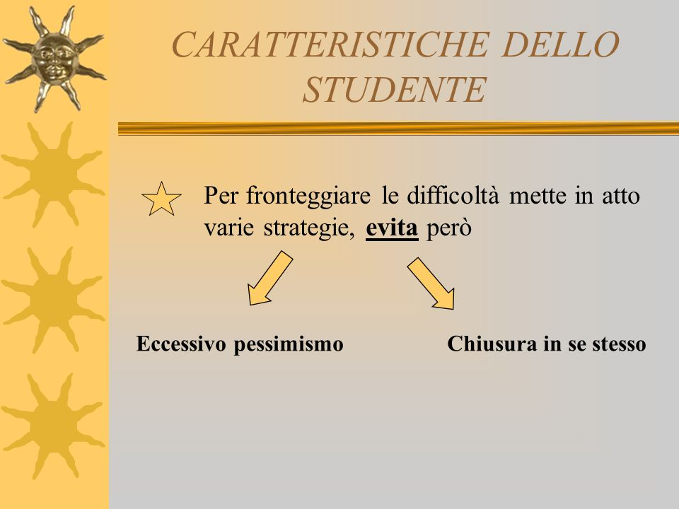 CARATTERISTICHE DELLO STUDENTE Per fronteggiare le difficoltà mette in atto varie strategie, evita però Eccessivo pessimismoChiusura in se stesso
