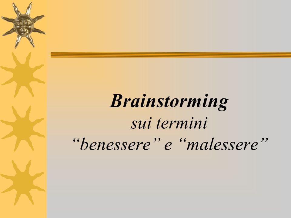 Classificazione, analisi, elaborazione dei risultati del brainstorming Individuazione di situazioni di disagio