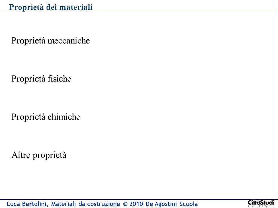 Luca Bertolini, Materiali da costruzione © 2010 De Agostini Scuola Proprietà dei materiali Proprietà meccaniche Proprietà fisiche Proprietà chimiche Altre proprietà