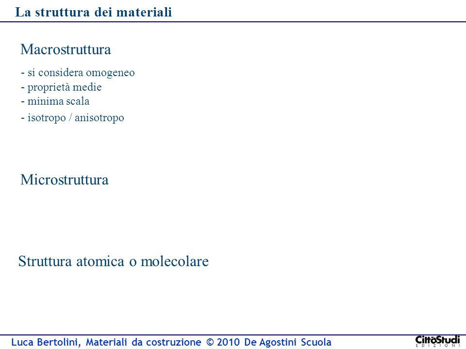 Luca Bertolini, Materiali da costruzione © 2010 De Agostini Scuola La struttura dei materiali Macrostruttura - si considera omogeneo Microstruttura - proprietà medie - isotropo / anisotropo - minima scala Struttura atomica o molecolare