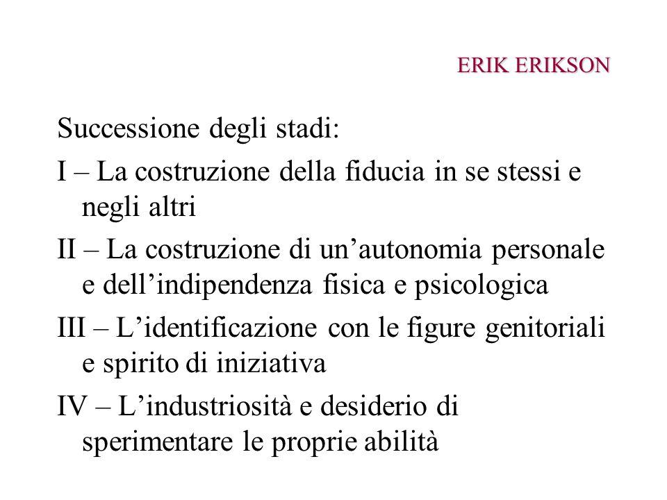 ERIK ERIKSON Successione degli stadi: I – La costruzione della fiducia in se stessi e negli altri II – La costruzione di unautonomia personale e delli