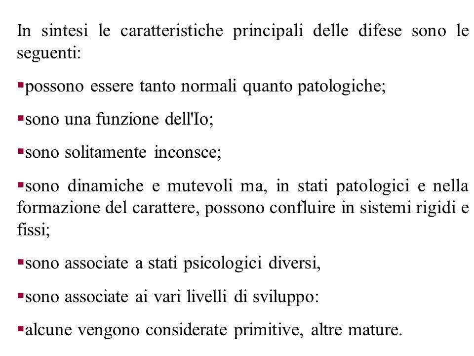 In sintesi le caratteristiche principali delle difese sono le seguenti: possono essere tanto normali quanto patologiche; sono una funzione dell'Io; so