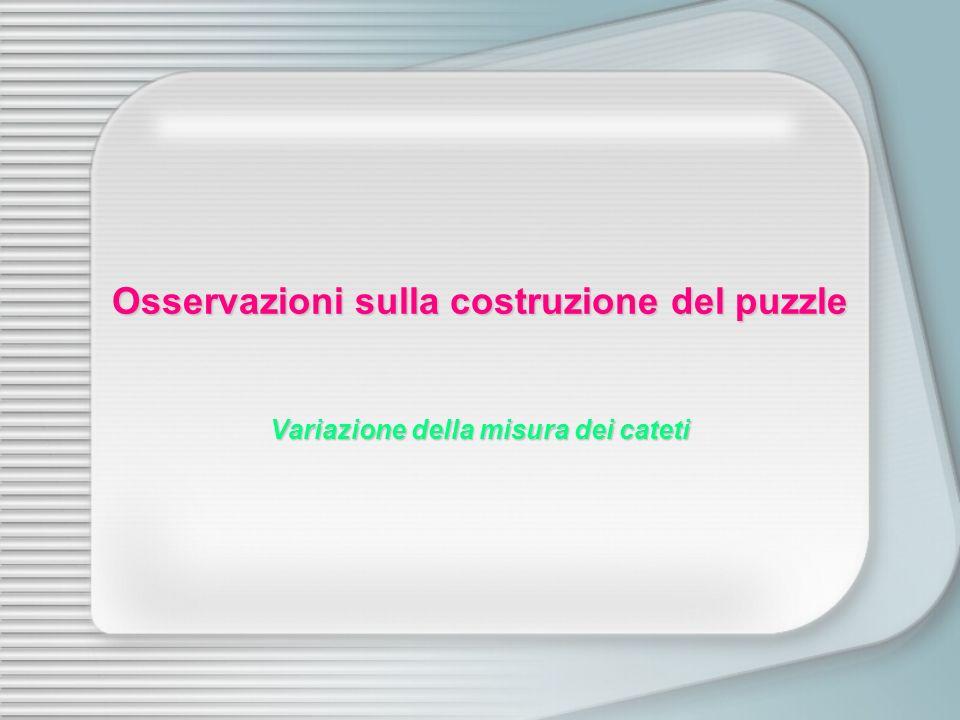 Osservazioni sulla costruzione del puzzle Variazione della misura dei cateti