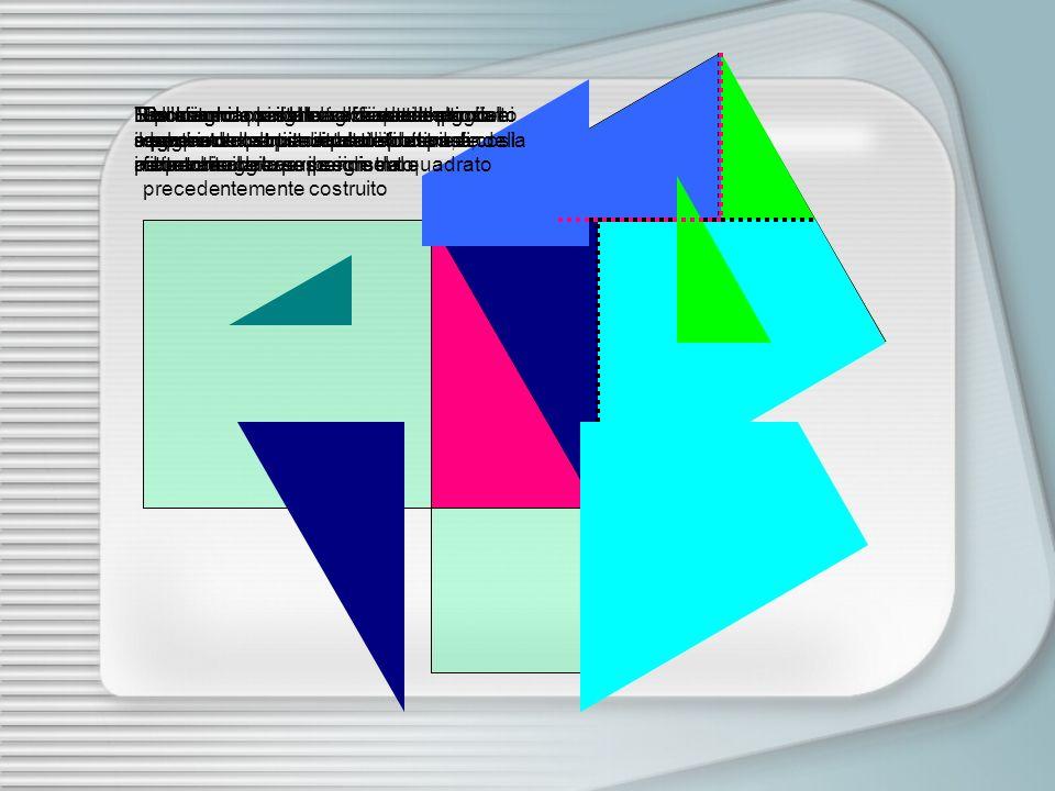 Prolunghiamo il lato orizzontale superiore del quadrato costruito sul cateto maggiore Prolunghiamo il lato verticale destro del quadrato costruito sul