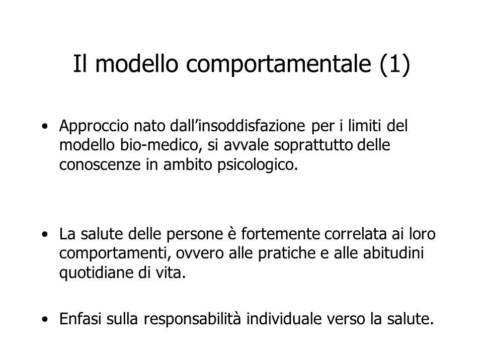Il modello comportamentale (1) Approccio nato dallinsoddisfazione per i limiti del modello bio-medico, si avvale soprattutto delle conoscenze in ambit