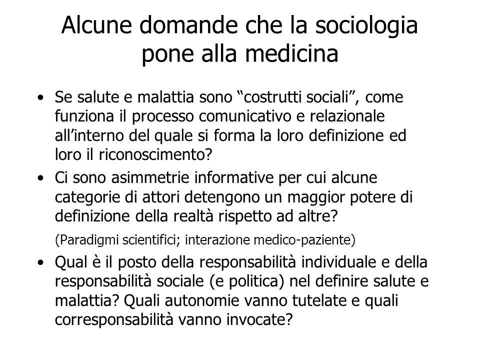 Alcune domande che la sociologia pone alla medicina Se salute e malattia sono costrutti sociali, come funziona il processo comunicativo e relazionale