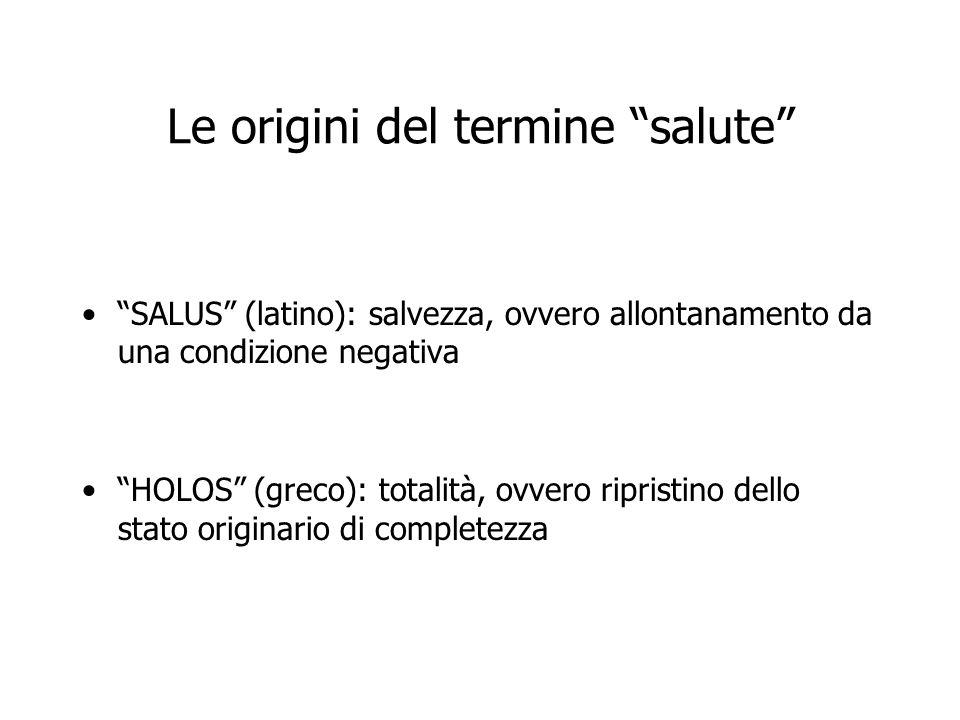 Le origini del termine salute SALUS (latino): salvezza, ovvero allontanamento da una condizione negativa HOLOS (greco): totalità, ovvero ripristino de