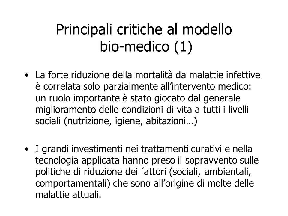Principali critiche al modello bio-medico (1) La forte riduzione della mortalità da malattie infettive è correlata solo parzialmente allintervento med