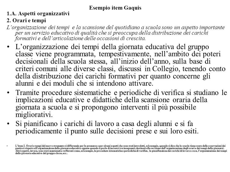 Esempio item Gaquis 1.A. Aspetti organizzativi 2.