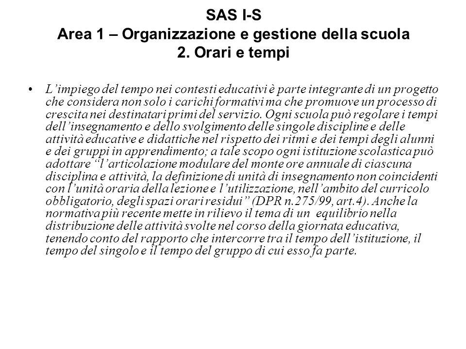 SAS I-S Area 1 – Organizzazione e gestione della scuola 2.