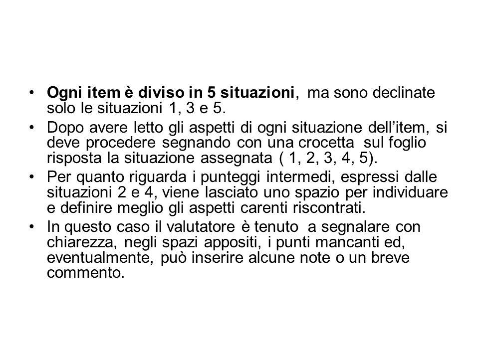 Ogni item è diviso in 5 situazioni, ma sono declinate solo le situazioni 1, 3 e 5.