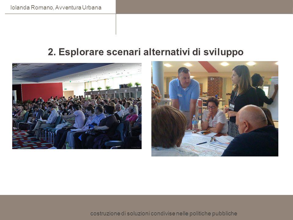 costruzione di soluzioni condivise nelle politiche pubbliche Iolanda Romano, Avventura Urbana 2. Esplorare scenari alternativi di sviluppo Coinvolgime