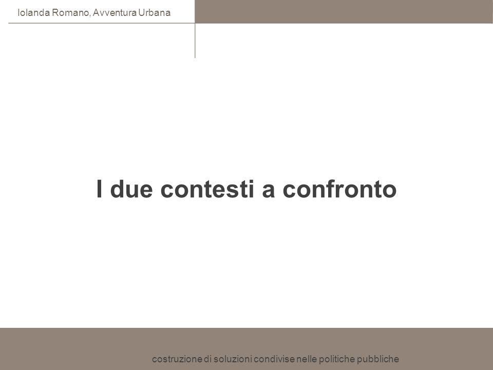 costruzione di soluzioni condivise nelle politiche pubbliche Iolanda Romano, Avventura Urbana I due contesti a confronto
