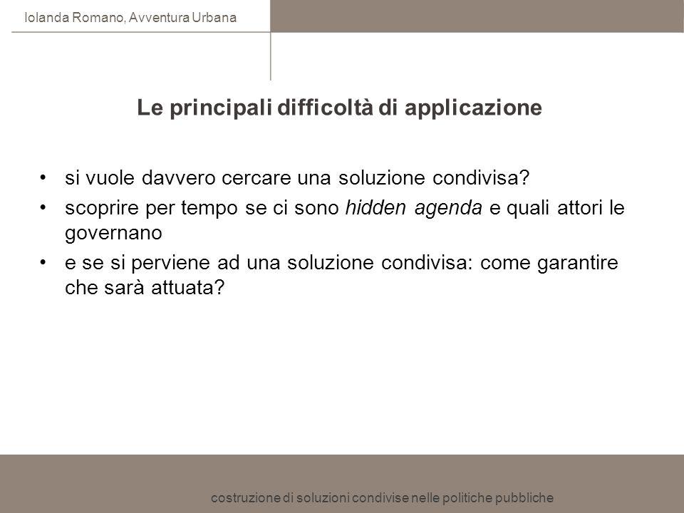 costruzione di soluzioni condivise nelle politiche pubbliche Iolanda Romano, Avventura Urbana Le principali difficoltà di applicazione si vuole davver
