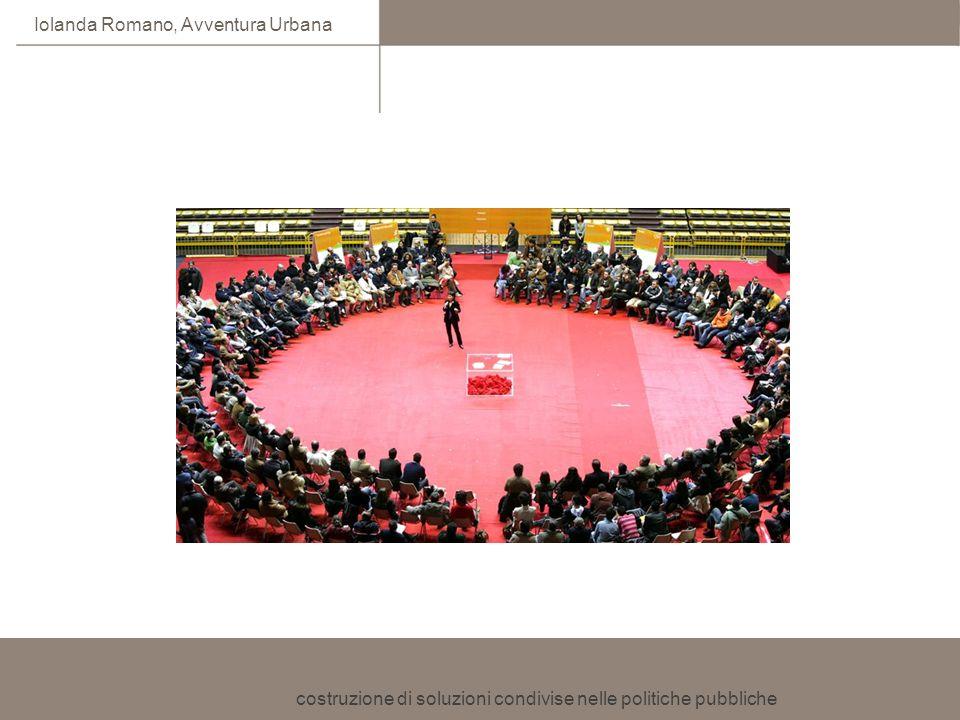costruzione di soluzioni condivise nelle politiche pubbliche Iolanda Romano, Avventura Urbana Gettare le fondamenta per un dialogo costruttivo costruire le condizioni per il dialogo procedurali (charter) relazionali (dalla contrapposizione al dialogo: le storie di Forester sostanziali (Joint Fact Finding)