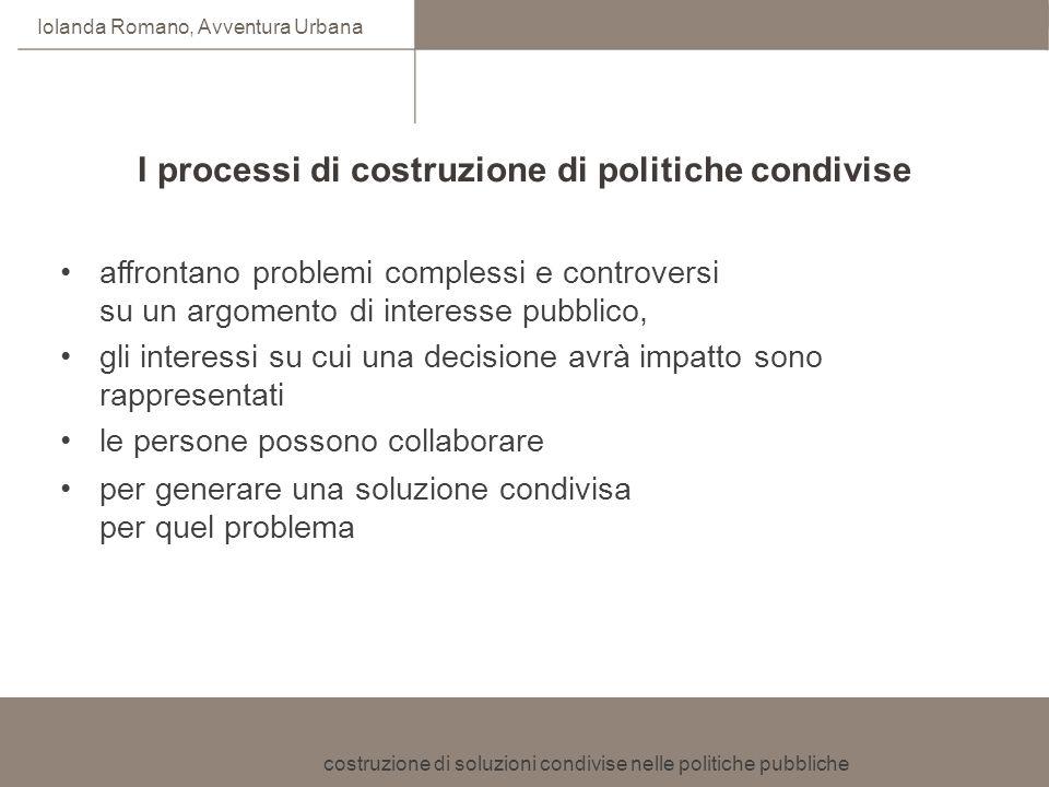 costruzione di soluzioni condivise nelle politiche pubbliche Iolanda Romano, Avventura Urbana affrontano problemi complessi e controversi su un argome