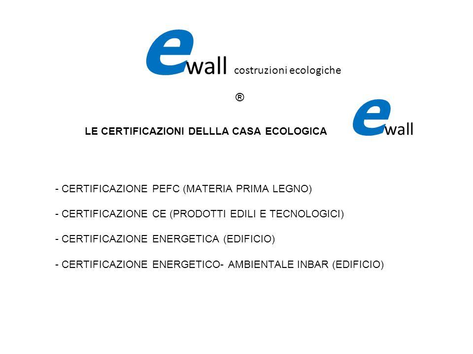 LE CERTIFICAZIONI DELLLA CASA ECOLOGICA e wall - CERTIFICAZIONE PEFC (MATERIA PRIMA LEGNO) - CERTIFICAZIONE CE (PRODOTTI EDILI E TECNOLOGICI) - CERTIF