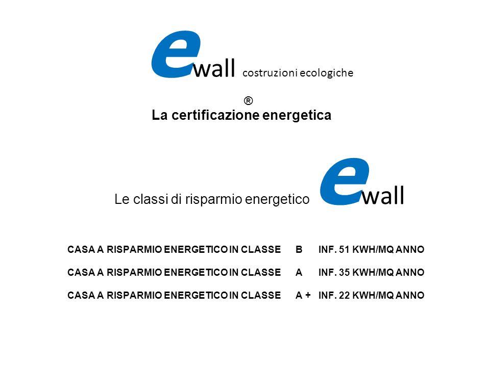 e wall costruzioni ecologiche ® La certificazione energetica Le classi di risparmio energetico e wall CASA A RISPARMIO ENERGETICO IN CLASSE B INF. 51