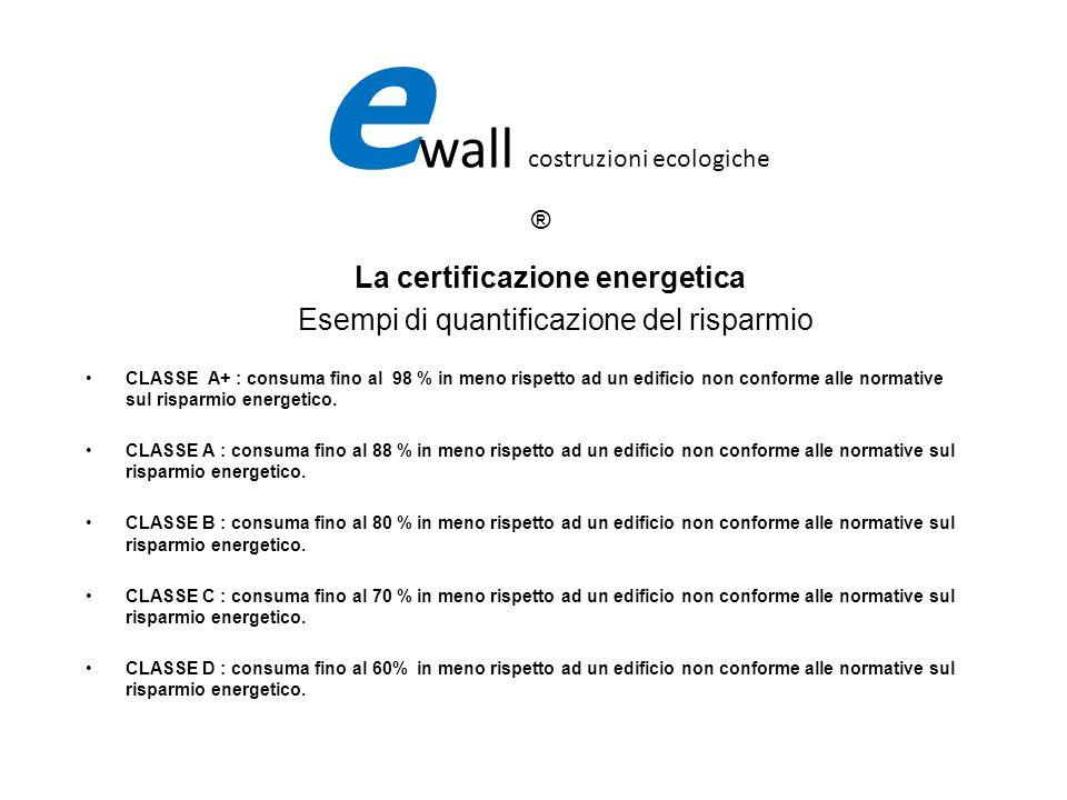 e wall costruzioni ecologiche ® La certificazione energetica Esempi di quantificazione del risparmio CLASSE A+ : consuma fino al 98 % in meno rispetto