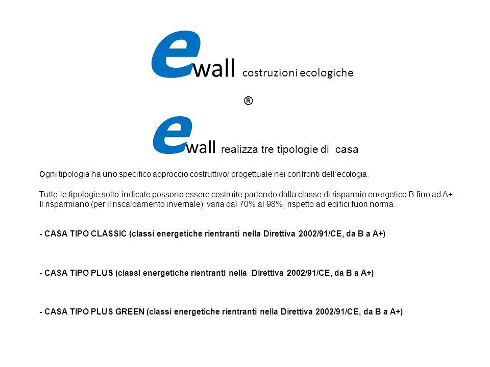 e wall realizza tre tipologie di casa o gni tipologia ha uno specifico approccio costruttivo/ progettuale nei confronti dellecologia. Tutte le tipolog