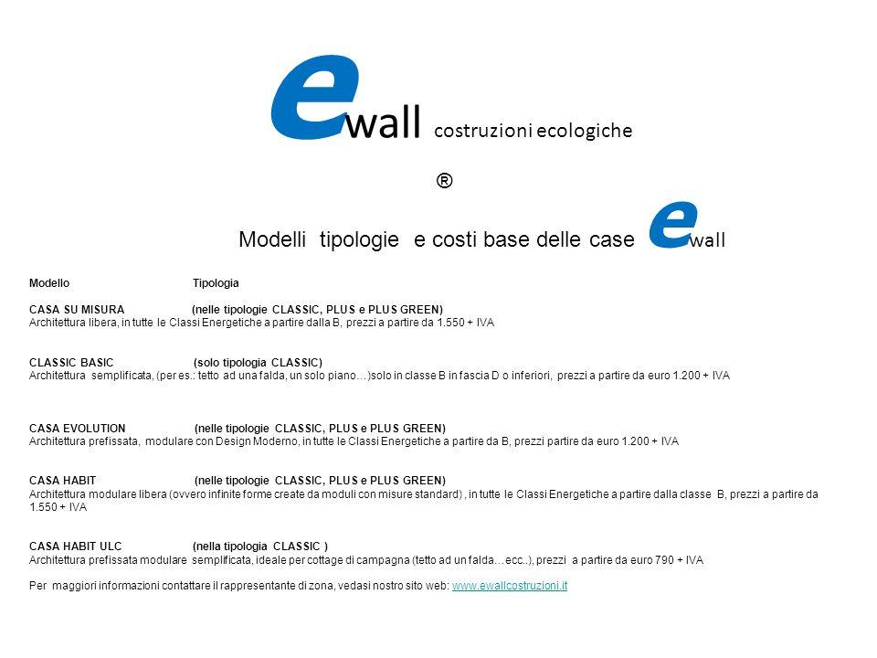 Modelli tipologie e costi base delle case e wall Modello Tipologia CASA SU MISURA (nelle tipologie CLASSIC, PLUS e PLUS GREEN) Architettura libera, in