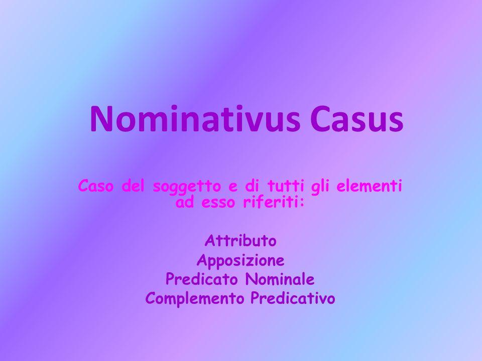 Nominativus Casus Caso del soggetto e di tutti gli elementi ad esso riferiti: Attributo Apposizione Predicato Nominale Complemento Predicativo