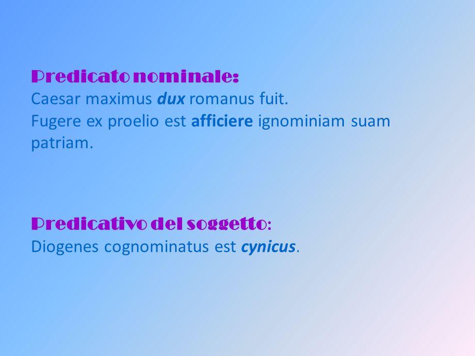 Verbi copulativi Appellattivi : dicor, appellor, nominor etc.