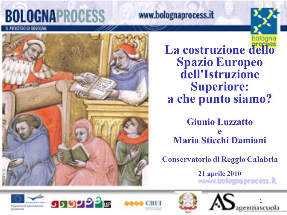 1 www.bolognaprocess.i t La costruzione dello Spazio Europeo dell'Istruzione Superiore: a che punto siamo? Giunio Luzzatto e Maria Sticchi Damiani Con