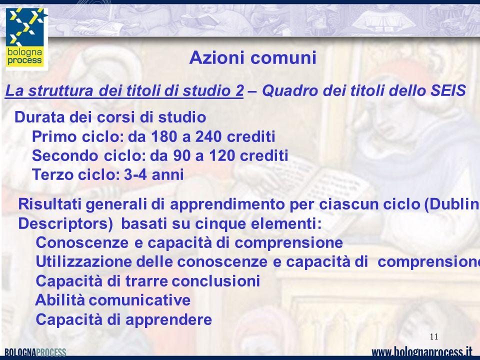 11 La struttura dei titoli di studio 2 – Quadro dei titoli dello SEIS Azioni comuni Durata dei corsi di studio Primo ciclo: da 180 a 240 crediti Secon