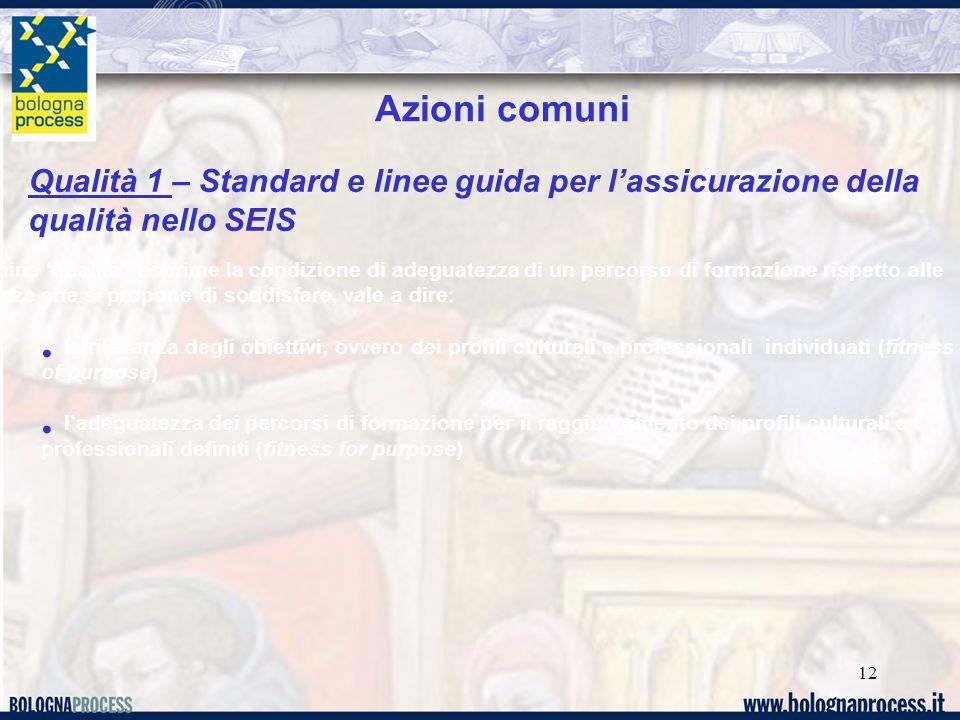 12 Qualità 1 – Standard e linee guida per lassicurazione della qualità nello SEIS Azioni comuni Il termine qualità esprime la condizione di adeguatezz